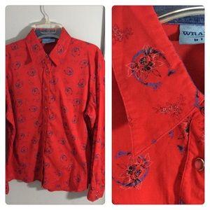 Red Wrangler Western Snap Shirt Horse shoe Roses M